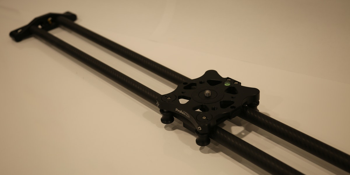 "Photo of Endner StoryLab ProAM USA Pro 48"" slider with fluid head tripod"
