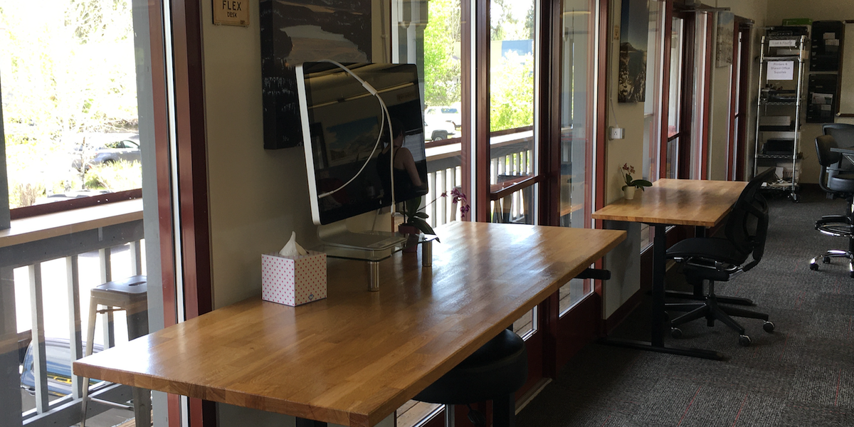 Photo of Flex Desk 4 - Main Room near deck - Adjustable Height Desk w/Mac Monitor Mac