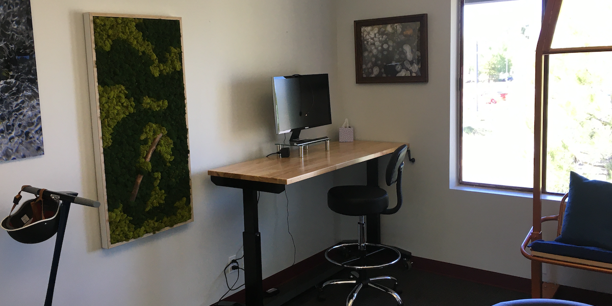 Photo of Flex Desk 1 - Front Room - Adjustable Height Desk w/Monitor